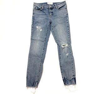 We the Free Distressed Raw Hem Skinny Jeans sz 26